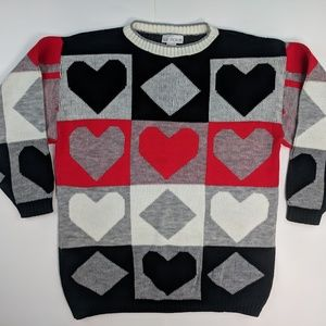 Vintage Hearts Diamonds Acrylic Sweater Large 80s